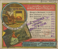 Advert for Abraham Madge, coal merchants, reverse side